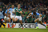 Ireland's Luke Fitzgerald on his way to scoring his teams 1st try.  Rugby World Cup 2015 quarter-final match, Ireland v Argentina at the Millennium Stadium in Cardiff, South Wales  on Sunday 18th October 2015.<br /> pic by  Andrew Orchard, Andrew Orchard sports photography.