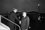 Acting Secretary-General of the U.N., U. Thant, arrives at Dublin Airport.  His visit is part of a tour of European capitals.  Pictured with the Minister for External Affairs Mr. Frank Aiken..13.07.1962 DFA,