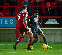 Lincoln City's Matt Green vies for possession with Accrington Stanley's Ben Richards-Everton<br /> <br /> Photographer Andrew Vaughan/CameraSport<br /> <br /> The EFL Checkatrade Trophy Second Round - Accrington Stanley v Lincoln City - Crown Ground - Accrington<br />  <br /> World Copyright © 2018 CameraSport. All rights reserved. 43 Linden Ave. Countesthorpe. Leicester. England. LE8 5PG - Tel: +44 (0) 116 277 4147 - admin@camerasport.com - www.camerasport.com