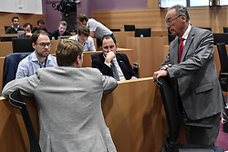 May 31, 2017 - Brussels, BELGIUM - Open Vld's Vincent Van Quickenborne and cdH's Francis Delperee pictured during a session of the parliamentary inquiry commission on the plea agreement, at the federal parliament, in Brussels, Wednesday 31 May 2017. This commission inquires the circumstances which led to the approbation and the application of the law of 14 April 2011 on the plea agreement. BELGA PHOTO DIRK WAEM (Credit Image: © Dirk Waem/Belga via ZUMA Press)