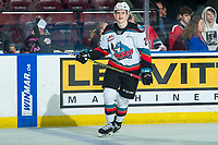 KELOWNA, BC - FEBRUARY 28: Forward Tyson Feist #25 of the Kelowna Rockets is all smiles during warm up against the Everett Silvertips at Prospera Place on February 28, 2020 in Kelowna, Canada. (Photo by Marissa Baecker/Shoot the Breeze)