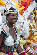 Hackney carnival 2010. Dancers take part in the procession.