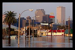 5th Sept, 2005. Hurricane Katrina aftermath. New Orleans. Carrolton Ave, one of New Orleans main thoroughfares lies in devastation following the wrath of Katrina.