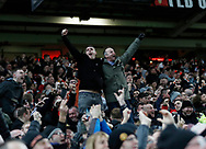 Manchester United fans celebrate the win  during the Premier League match at Old Trafford, Manchester. Picture date: 8th March 2020. Picture credit should read: Darren Staples/Sportimage