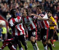 Photo: Jonathan Butler.<br /> Southampton v Stoke City. Coca Cola Championship. 21/10/2006.<br /> Mario Licka of Southampton celebrates scoring with his team mates.