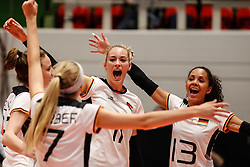 16.05.2019, Montreux, SUI, Montreux Volley Masters 2019, Deutschland vs Polen, im Bild Louisa Lippmann (Germany #11), Denise Imoudu (Germany #13) // during the Montreux Volley Masters match between Germany and Poland in Montreux, Switzerland on 2019/05/16. EXPA Pictures © 2019, PhotoCredit: EXPA/ Eibner-Pressefoto/ beautiful sports/Schiller<br /> <br /> *****ATTENTION - OUT of GER*****
