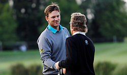 24.09.2015, Beckenbauer Golf Course, Bad Griesbach, GER, PGA European Tour, Porsche European Open, im Bild Bernd Wiesberger und Bernhard Langer am Schluss der Runde an der 18 // during the European Tour, Porsche European Open Golf Tournament at the Beckenbauer Golf Course in Bad Griesbach, Germany on 2015/09/24. EXPA Pictures © 2015, PhotoCredit: EXPA/ SM<br /> <br /> *****ATTENTION - OUT of GER*****