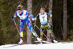 Habert Dorin Marie (FRA) and Laura Dahlmeier (GER) compete during Women 10 km Pursuit at day 3 of IBU Biathlon World Cup 2015/16 Pokljuka, on December 19, 2015 in Rudno polje, Pokljuka, Slovenia. Photo by Ziga Zupan / Sportida
