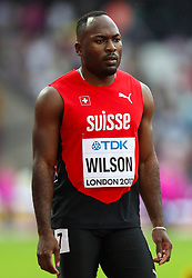 London, 2017 August 07. Alex Wilson, Switzerland, in the men's 200m heats on day four of the IAAF London 2017 world Championships at the London Stadium. © Paul Davey.