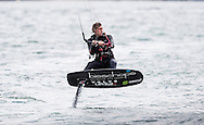 Cowes. Isle of Wight. UK. 30th June 2016.  The Bridge family raced around the Isle of Wight on hydrofoil kiteboards in world record times (subject to ratification by the WSSR)<br /> Guy Bridge (16) was the first to finish, with a time of 2 hours, 32 minutes and 25 seconds. Older brother Olly Bridge(18) finished 2nd with a time of 2 hours, 32 minutes and 27 seconds. Their mother Steph Bridge (five times World Kite Race Champion) finished in 3 hours, 3 minutes and 24 seconds and claimed the female record.<br /> Credit : Lloyd Images