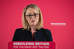 © Licensed to London News Pictures . 02/09/2019. Salford , UK. REBECCA LONG-BAILEY introduces Jeremy Corbyn . Members of the shadow cabinet and regional devolved mayors attend a speech and Q&A by Labour Party leader Jeremy Corbyn at The Landing Media City in Salford . Photo credit: Joel Goodman/LNP