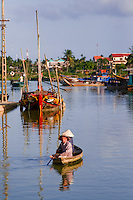 Small boat on the Thu Bon river in Hoi An.