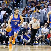 08 March 2016: New York Knicks guard Jose Calderon (3) brings the ball up court next to New York Knicks forward Kristaps Porzingis (6) during the Denver Nuggets 110-94 victory over the New York Knicks, at the Pepsi Center, Denver, Colorado, USA.