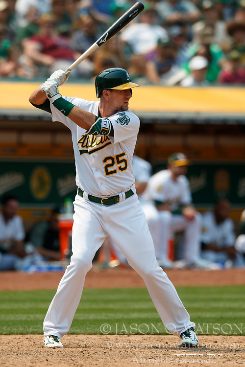 OAKLAND, CA - JULY 01: Stephen Piscotty #25 of the Oakland Athletics at bat against the Cleveland Indians during the seventh inning at the Oakland Coliseum on July 1, 2018 in Oakland, California. The Cleveland Indians defeated the Oakland Athletics 15-3. (Photo by Jason O. Watson/Getty Images) *** Local Caption *** Stephen Piscotty