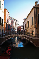 bridge of the small canal in the beautiful city of venice in italy