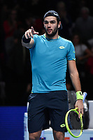 Tennis - 2019 Nitto ATP Finals at The O2 - Day Five<br /> <br /> Singles Group Bjorn Borg: Dominic Thiem (Austria) vs. Matteo Berrettini (Italy)<br /> <br /> Matteo Berrettini celebrates his 2 set victory over Dominic Thiem, 7-6, 6-3<br /> <br /> COLORSPORT/ASHLEY WESTERN