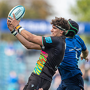 DUBLIN, IRELAND:  October 9:   Andrea Zambonin #5 of Zebre is challenged in the line out by Ryan Baird #4 of Leinster during the Leinster V Zebre, United Rugby Championship match at RDS Arena on October 9th, 2021 in Dublin, Ireland. (Photo by Tim Clayton/Corbis via Getty Images)
