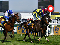 National Hunt Horse Racing - 2019 Randox Health Grand National Festival - Saturday, Day Three (Grand National Day)<br /> <br /> 1st placed in a photo finish, Sean Bowen on 3 If The Cap Fits, followed by  Harry Skelton on  2nd placed  15 Roksana & J W Kennedy on 3rd placed 14 Apple's Jade in the 15.40 Ryanair Stayers Hurdle (Registered As The Liverpool Hurdle) (Grade 1) (Class 1) at Aintree Racecourse.<br /> <br /> COLORSPORT/WINSTON BYNORTH