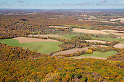 Aerial view of Sauk County, Wisconsin, and the Baraboo Hills, near Reedsburg, Wisconsin.