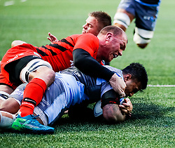 Rey Lee-Lo of Cardiff Blues scores his sides first try<br /> <br /> Photographer Simon King/Replay Images<br /> <br /> European Rugby Champions Cup Round 4 - Cardiff Blues v Saracens - Saturday 15th December 2018 - Cardiff Arms Park - Cardiff<br /> <br /> World Copyright © Replay Images . All rights reserved. info@replayimages.co.uk - http://replayimages.co.uk