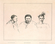 Hottentot (Left) Bosjesman [Bushman / Saan] (center) Boosh-wana [Tswana] (Right) from the book Sketches representing the native tribes, animals, and scenery of southern Africa : from drawings made by the late Mr. Samuel Daniell. by Daniell, Samuel, 1775-1811; Daniell, William, 1769-1837; Barrow, John, Sir, 1764-1848; Somerville, William, 1771-1860; Printed by Richard and Arthur Taylor : Published by William Daniell, and William Wood, London, 1820