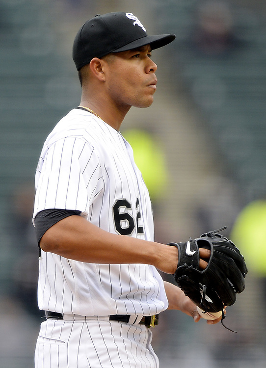 CHICAGO - APRIL 04:  Jose Quintana #62 of the Chicago White Sox looks on against the Detroit Tigers on April 04, 2017 at Guaranteed Rate Field in Chicago, Illinois.  The Tigers defeated the White Sox 6-3.  (Photo by Ron Vesely)   Subject:  Jose Quintana