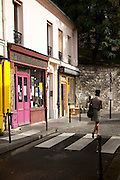 The narrow streets in the Belleville district in Paris, France