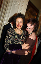 Left to right, the MARCHIONESS OF WORCESTER and CAROL VICTOR at a party to celebrate the publication of Andrew Robert's new book 'Waterloo: Napoleon's Last Gamble' and the launch of the paperback version of Leonie Fried's book 'Catherine de Medici' held at the English-Speaking Union, Dartmouth House, 37 Charles Street, London W1 on 8th February 2005.<br />