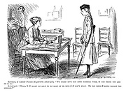 """Secretary at Labour Bureau (to patriotic school-girl). """"We might give you some clerical work, if you think you are up to it."""" School-girl. """"Well, I - I might be able to do some of it, but - I don't know. Do you think I could manage the sermons?"""""""
