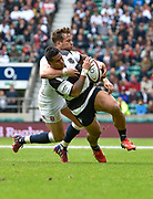 England fly-half Danny Cipriani (Sale Sharks) hauls down Barbarians wing David Smith (Toulon) during the International Rugby Union match England XV -V- Barbarians at Twickenham Stadium, London, Greater London, England on May  31  2015. (Steve Flynn/Image of Sport)