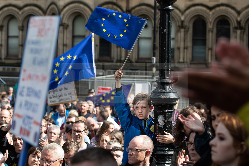 © Licensed to London News Pictures. 31/08/2019. Manchester, UK. Thousands attend a pro EU demo in Albert Square in Manchester City Centre , with objections raised to the Prime Minister Boris Johnson's intention to prorogue Parliament in the run up to Britain's planned Brexit deadline . Photo credit: Joel Goodman/LNP