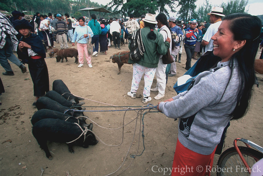ECUADOR, MARKETS, CRAFTS Otavalo livestock and crafts market