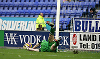 Photo: Paul Greenwood/Sportsbeat Images.<br />Wigan Athletic v Blackburn Rovers. The FA Barclays Premiership. 15/12/2007.<br />Wigan's keeper Chris Kirkland saves Benni McCarthy's penalty