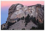 Mount Rushmore in the twilight before sunrise, South Dakota; USA