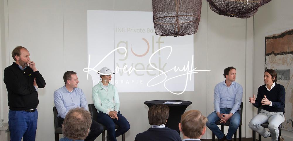 BADHOEVEDORP - presentator Daan Slooter, Jeroen Stevens (dir. NGF),  golfprofessional Anne van Dam, Steven Sedee (ING sportsponsoring), Norbert Chevalier (TIG Sports).  Van 20 t/m 22 mei zal op de International Golfcourse de ING Private Banking Golf Week voor het eerst gehouden worden.  COPYRIGHT KOEN SUYK