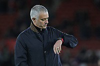 Football - 2018 / 2019 Premier League - Southampton vs. Manchester United<br /> <br /> Manchester United Manager Jose Mourinho checks his watch before kick off at St Mary's Stadium Southampton<br /> <br /> COLORSPORT/SHAUN BOGGUST