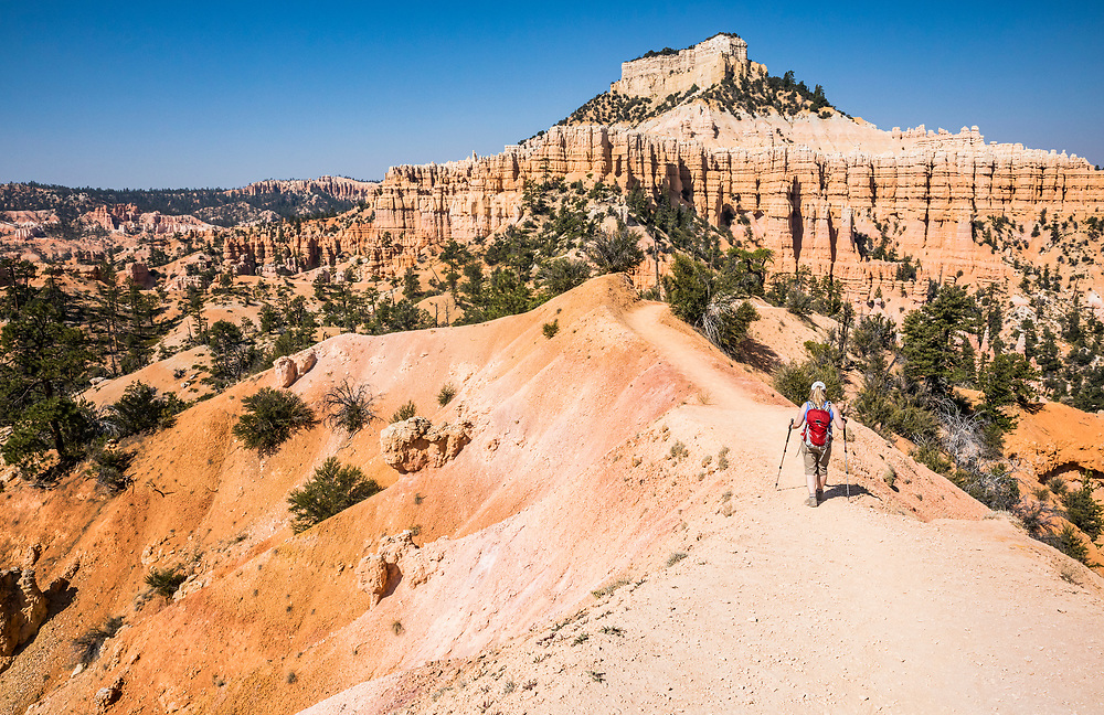 A woman hiking the Fairyland Loop TRail in Bryce Canyon National Park, Utah, USA.