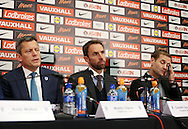 England's Martin Glenn (Chief Executive), Gareth Southgate (Manager) and Dan Ashworth (Technical Director) look on during the press conference at Wembley Stadium, London. Picture date December 1st, 2016 Pic David Klein/Sportimage
