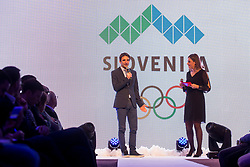 Franci Petek and Anja Hlaca Ferjancic at <br />  Official presentation of the Designer wear for Slovenian Athletes at PyeongChang Winter Olympic Games 2018, on December 19, 2017 in Grand Hotel Union, Ljubljana, Slovenia. Photo by Urban Urbanc / Sportida
