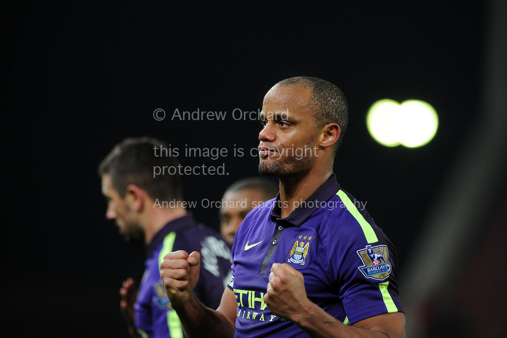 Vincent Kompany, the Manchester city capt thanks the Man city fans at the end of the game. Barclays Premier League match, Stoke city v Manchester city at the Britannia Stadium in Stoke on Trent , Staffs on Wed 11th Feb 2015.<br /> pic by Andrew Orchard, Andrew Orchard sports photography.