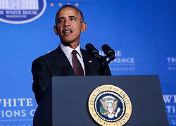US President Barack Obama speaks at the 2016 White House Tribal Nations Conference at the Andrew W. Mellon Auditorium, September 26, 2016, Washington, DC. The conference provides tribal leaders with opportunity to interact directly with federal government officials and members of the White House Council on Native American Affairs. (Pool/Aude Guerrucci)