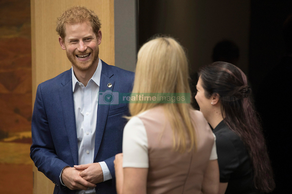 Prince Harry talks with Bronwen Evans and Leah Cuffe, right, during a reception before the True Patriot Love Symposium, in Toronto on Friday, September 22, 2017. Photo by Chris Young/The Canadian Press/ABACAPRESS.COM