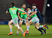Sale Sharks flanker Jonno Ross tackles Harlequins centre Alofa Alofa during a Gallagher Premiership match won by Sale Sharks 27-17 at the AJ Bell Stadium, Eccles, Greater Manchester, United Kingdom, Friday, April 5, 2019. (Steve Flynn/Image of Sport)