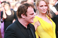 Quentin Tarantino, Uma Thurman at Sils Maria gala screening red carpet at the 67th Cannes Film Festival France. Friday 23rd May 2014 in Cannes Film Festival, France.