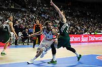 Real Madrid´s Sergio Rodriguez and Zalgiris Kaunas´s Arturas Milaknis during 2014-15 Euroleague Basketball match between Real Madrid and Zalgiris Kaunas at Palacio de los Deportes stadium in Madrid, Spain. April 10, 2015. (ALTERPHOTOS/Luis Fernandez)