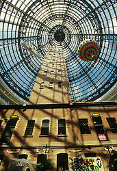 Australia, Victoria, Melbourne, Historic shot tower incorporated into urban Melbourne Central Mall