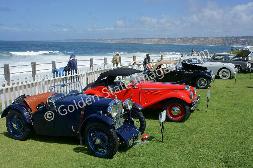 British Classic MG Roadsters on display at the annual Concours d'Elegance Car Show at La Jolla Cove, California.