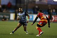 Willis Halaholo of Cardiff Blues (l) . Guinness Pro14 rugby match, Cardiff Blues v Dragons at the Cardiff Arms Park in Cardiff, South Wales on Friday 6th October 2017.<br /> pic by Andrew Orchard, Andrew Orchard sports photography.