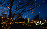 Dusk falls at the Way of Lights holiday light display at the National Shrine of Our Lady of the Snows in Belleville on December 3, 2019. This is the 50th anniversary of the annual light display, which runs from 5 pm to 9 pm through December 31. <br />Photo by Tim Vizer