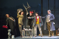 © Licensed to London News Pictures. 06/09/2012. Welsh National Opera present Puccini's La Boheme at the Wales Millennium Centre, Cardiff. Featuring Giselle Allen as Mimi, Alex Vicens as Rodolfo, David Kempster as Marcello and Kate Valentine as Musetta. Photo credit : Tony Nandi/LNP